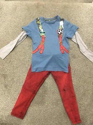 Boys Size 6/7 Years Outfit Marks & Spencer Tshirt Red Jean Trouser, Cool Design!
