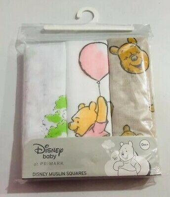 Primark Disney Winnie The Pooh And Friends Unisex Baby 3 Pack Muslin Cloths
