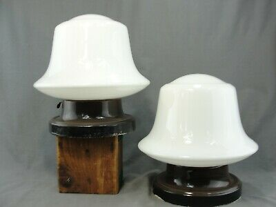 2 Antique GUTH School House Industrial Lights Milk Glass Bell Shades Authentic
