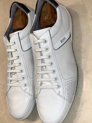 BOSS by HUGO BOSS 'MIRAGE' MENS WHITE LEATHER LOW TOP SNEAKER SIZE 12M $398