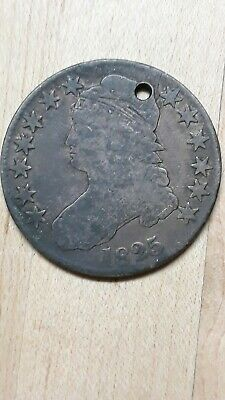 1825 Capped Bust Half Dollar  lower grade,holed.