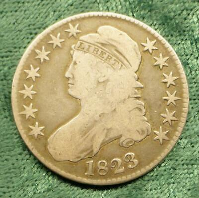 1823 Capped Bust Silver Half Dollar, Lettered Edge Silver Half Dollar Coin
