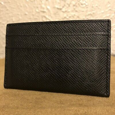 Authentic Louis Vuitton Black Taiga Leather Double Card Holder