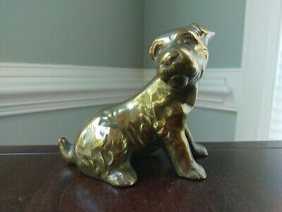 Brass Jack Russel Terrier Dog Figurine Statue Patina Solid Vintage Small Decor