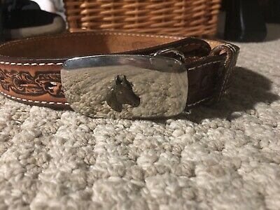 Boys Leather Cowboy Belt Chrome Horse Buckle Size 20