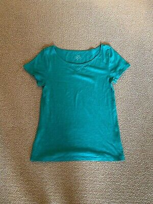 Women's J. Crew Teal Vintage Cotton Short Sleeve Top, Size Small Gently Used