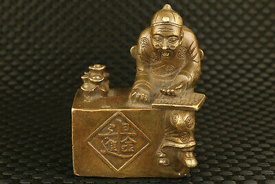 chinese old bronze hand cast landlord statue fortune figure collectable decor
