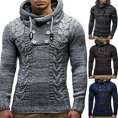 UK Men Hooded Chunky Knit Jumper Pullover Winter Thick Warm Hoodie Sweater Tops