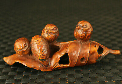 old chinese boxwood hand four owl in the tree statue collectable decoration