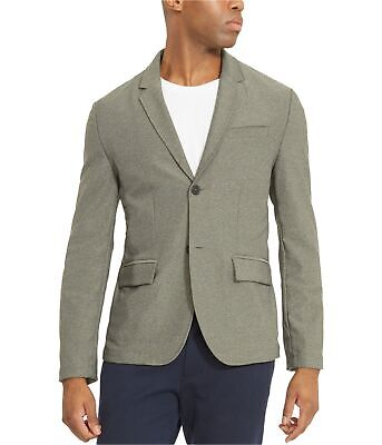 Kenneth Cole Mens Knit Two Button Blazer Jacket, Grey, X-Large