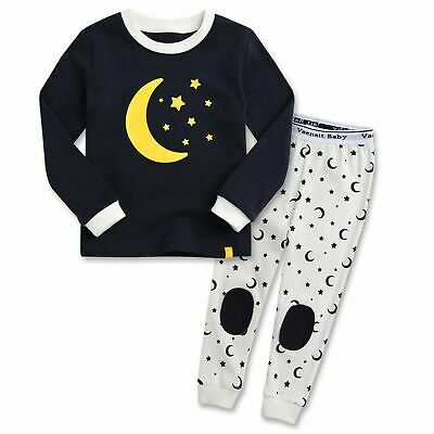 "Vaenait Baby Toddler Kids Boys Girls Clothes Pajama Set ""Good Night Black""M"