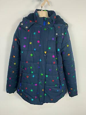 Girls Stella Mccartney Blue Star Padded Winter Hood Rain Coat Kids Age 14 Years
