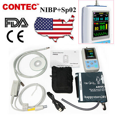 CE&FDA PM50 Portable Patient Monitor Vital Signs ,Adult Cuff +Adult Sp02 ,CONTEC