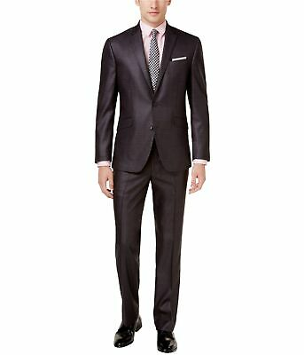 Kenneth Cole Mens Basketweave Two Button Formal Suit, Grey, 38 Short / 31W x 32L