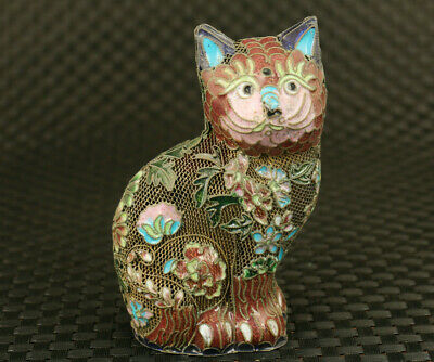 old Chinese cloisonne Hand painted lovely cat Statue collectable Hand piece