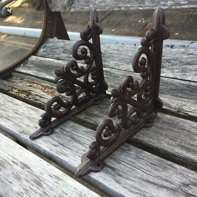 "4x Antique Style 6"" Cast Iron Brackets Garden Braces Rustic Shelf Black Hardware"