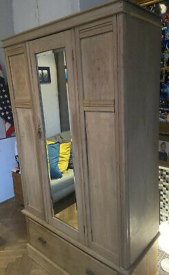 Beautiful Victorian Pine Wardrobe Armoire ,Waxed Pine , Mirrored Double Ward