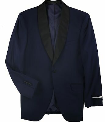 Perry Ellis Mens Solid Two Button Blazer Jacket, Blue, 42 Long