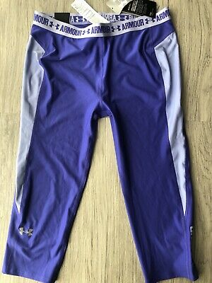 NWT UNDER ARMOUR Coolswitch Purple capri Legging Shorts Size YXL New