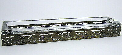 Antique Art Nouveau Pen Pencil Desk Tray Holder Crystal Glass Bronze Ormolu