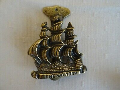 Vintage Nelson's The Victory Sailing Ship Brass Small Door Knocker