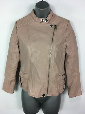 Girls Zara Nude Blush Pink Faux Leather Silver Zip Biker Jacket Coat Age 11-12