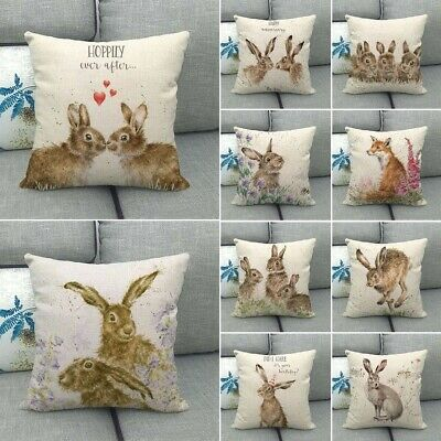 """18"""" Spring Easter Pillow Covers Cases Decorative Cushion Sofa Couch Rabbit Bunny"""