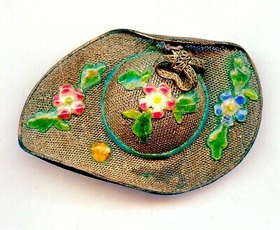 Antique Vintage Chinese Gilt Sterling Silver Filigree Enamel Ladies Hat Pin