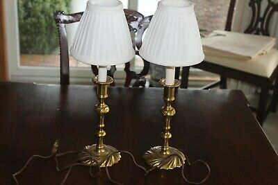 Pair of Virginia Metalcrafters solid brass lamps