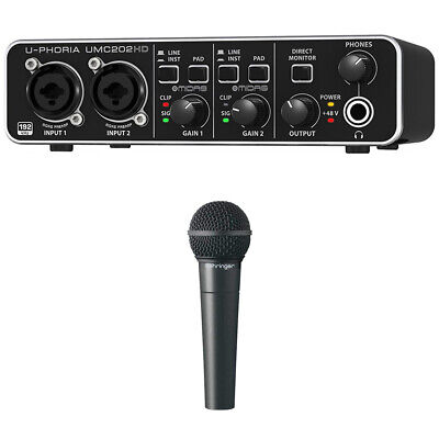 Behringer Audiophile 2x2 24-Bit/192 kHz USB Audio Interface U-PHORIA +Microphone