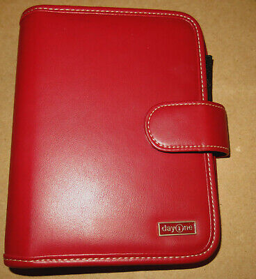 "RED Franklin Covey Day One Planner Gently Used 1 1/4"" Ring Binder Organizer"