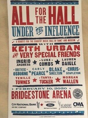 All For The Hall HATCH PRINT POSTER 2/10/2020 Nashville Keith Urban Luke Combs