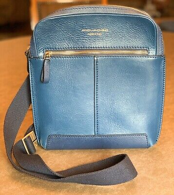 Piquadro Hexagon Messenger Bag 22 cm Blu Blue