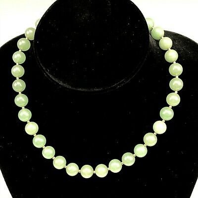 Chinese Export Green Celadon Jade 10mm Round Beaded Women's Choker Necklace SMS