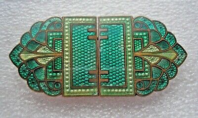 Stunning antique Art Deco guilloche enamelled 2 part buckle shades of green