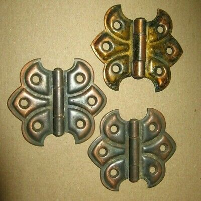 3 Antique Metal Cupboard Cabinet Butterfly Hinges Hardware Parts~Stock 2