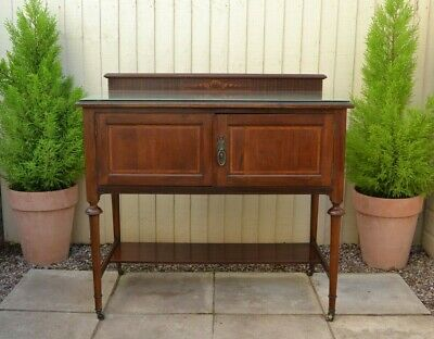 Lovely Antique Edwardian Inlaid Sideboard Hall Table Cabinet Washstand Mahogany
