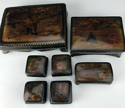 Lot Of 7 Russian Hand Painted Folk Art Black Red Lacquer Jewelry Trinket Box WBZ