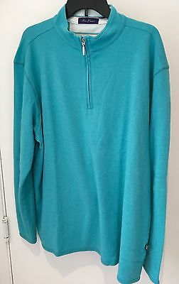 Alan Flusser cool soft 100% Cotton Golf Mens XL Pullover turquoise 1/4 Zip NWT