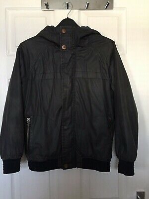 Next Boys Dark Grey Faux Wax Hooded Lined Jacket Size 11 years