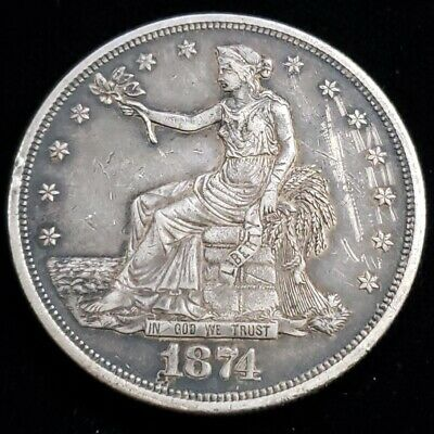 1874 US United States $1 One Silver Trade Dollar Rare Better Date Coin 9TD7440