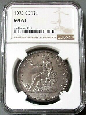 1873 Cc Silver Carson City Trade Dollar Ngc Mint State 61