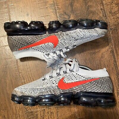 Nike Air Vapormax Flyknit Pure Platinum Red Grey White Size 9.5 Rare 849558 020
