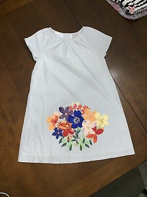 Hanna Andersson Girls Light Gray Dress W/ Floral Design Size 130 / Us 8