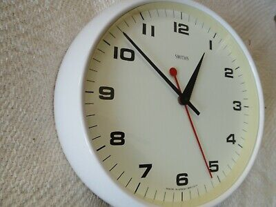 Smiths White Electric Wall Clock Fantastic Condition