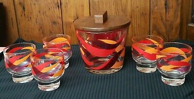 Vtg Mid-Century Modern MCM Barware Set Ice Bucket 5 Glass Tumblers Red Orange