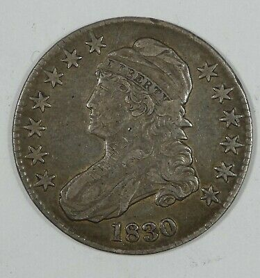 BARGAIN 1830 Capped Bust Lettered Edge Half Dollar EXTRA FINE Silver 50c