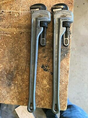 """Pair Of Ridgid  24"""" Aluminum  Pipe   Wrenchs Used -  Model # 824 Made  In  Usa"""
