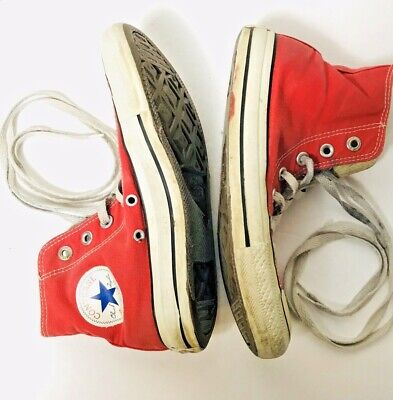 Converse All Star Chuck Taylor Hi Top Red Womens Size 7 Mens 5 Trashed Punk