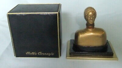 Vintage 1937 Hattie Carnege  Small Gold Perfume Bottle With Black Box